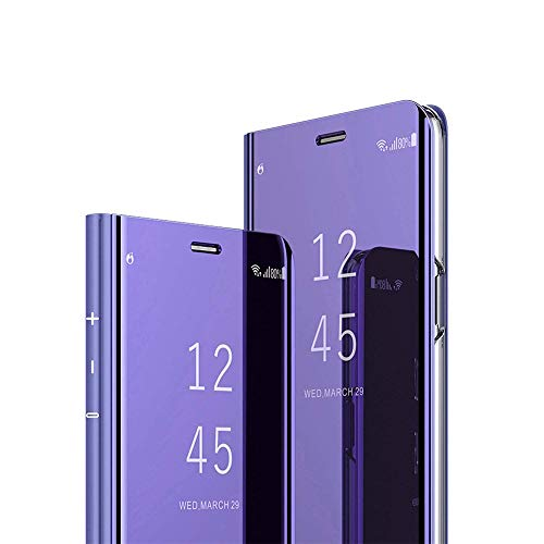 ISADENSER Sony Xperia XZ Case Sony Xperia XZ Flip Cover for Women Luxury View Flip Plating Mirror Makeup Glitter Slim Shockproof Full 360 Body Protective Case for Sony Xperia XZ/XZs Mirror Purple