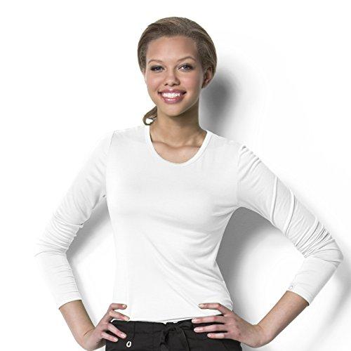 WonderWink Women's Silky Long Sleeve Knit Tee- White- 2X-Large by WonderWink