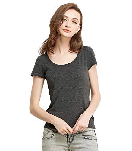 Liang Rou Women's Mini-Ribbed Stretch Scoop Neck T-Shirt Dark Gray M