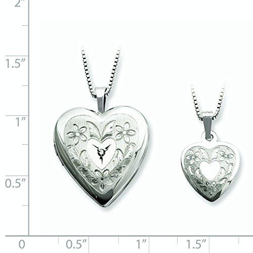 Argent sterling diamant poli Pendentif Médaillon et cœur de