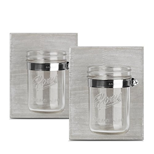 HOMKO Farmhouse Mason Jar Candle Lanterns - Wall Hanging Mason Jar Decorative Accessories Set for Country, Western, Vintage, and Outhouse Style (Set of ()