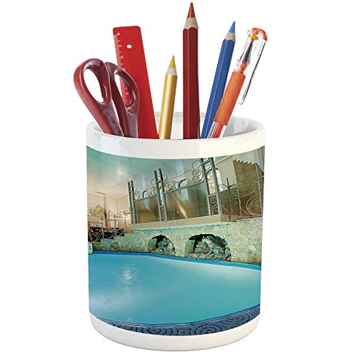 Pencil Pen Holder,Modern Decor,Printed Ceramic Pencil Pen Holder for Desk Office Accessory,Vivid Blue Swimming Pool in Spa Interior Resort Relaxation Theraphy Theme