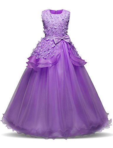 NNJXD Girl Sleeveless Embroidery Princess Pageant Dresses Prom Ball Gown Size (150) 9-10 Years Purple