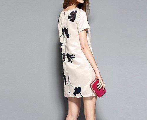 Vestido De La Impresión De Tinta De Cuello Redondo LightBeige