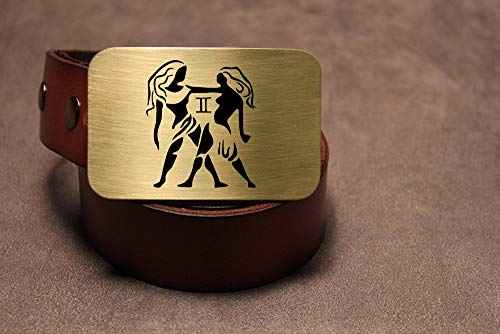 Gemini Belt Buckle ZODIAC Etched Metal