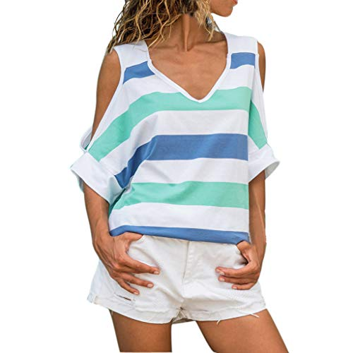 Funic Womens Stripe Off Shoulder Patchwork Color Casual Daily Tops(Blue,M)
