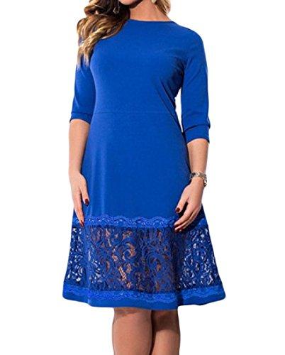 Blue Splicing Fashion Lace Sun Party Dress Coolred Size Color Plus Women Pure Hollow qfO7E