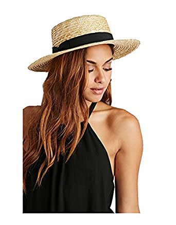 Lack of Color Women's The Spencer Boater Hat (Small/56cm, Natural Woven Straw)