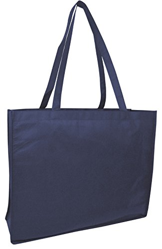 Set of 6- Eco-Friendly Reusable Non Woven Extra Large Tote Bag (Navy)