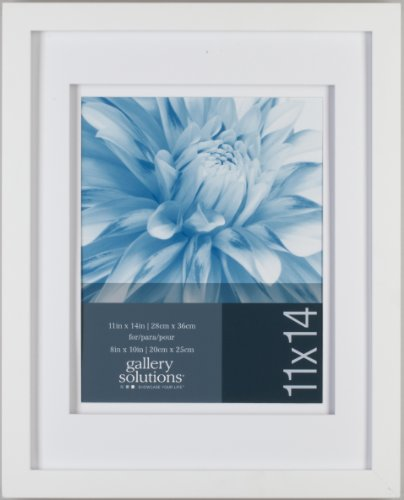 Gallery Solutions White Wood Wall Frame with White Airfloat Mat, 11 by 14 inch matted to 8 by 10 inch