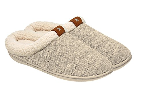 Adrienne Vittadini Women's Comfort Padded Memory Foam Sherpa House Slipper w Slip-Resistant Rubber Sole| Indoor/Outdoor (House Sherpa)