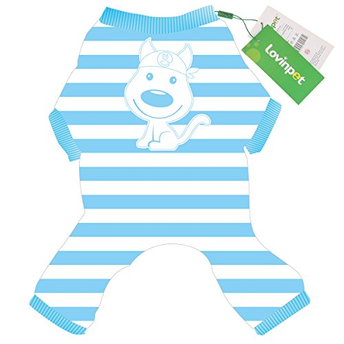 LovinPet Puppy Pajamas Dog Poodle Chihuahua Jumpsuit Boxer Bulldog Dog Striped Dress for Small Dog Onesie Cozy soft Pet Pjs Dog Cloth (Please Read (Blue Dog Puppy Apparel)