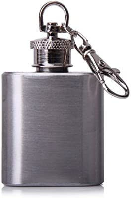 TOOGOO(R) 1 oz portatil acero inoxidable Petaca llavero de plata