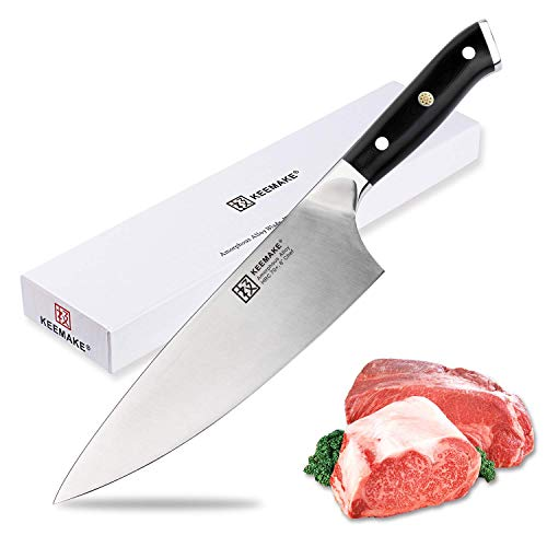 Chef Knife 8 Inch Professional Kitchen Knives Premium High Carbon German Steel  70HRC Strong Hardness Liquid Metal Ultra Sharp and Ergonomic Handle for Chopping, Slicing, Dicing  Mincing by Keemake 8' Butcher Knife High Carbon