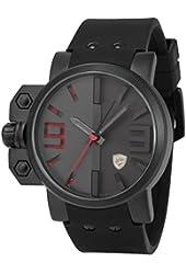 Shark Men's Sport Quartz Wrist Watch Military Red 3D Dial Black Silicone SH172