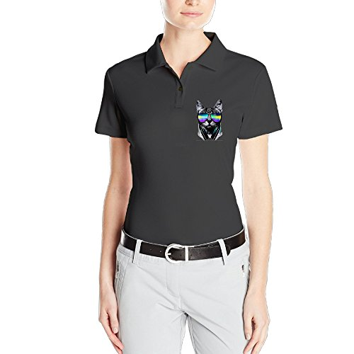 MEGGE Women's Music Lover Cat V.II Comfortable Short Sleeves Classic Pirque Polo Shirt