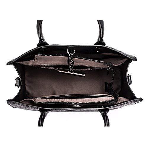 Work for Top Fashion Style bags 1 Genuine bag Handbag Urban Bag shoulder Satchel Leather Bag Womens handle Black women Tote w16aSqx