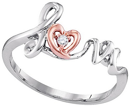 10kt Two-tone Rose Gold Womens Round Diamond Heart Love Ring .02 Cttw by JawaFashion