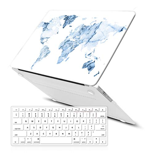 MacBook Air 13 Inch Case (Release 2010-2017 Older Version),iCasso Rubber Coated Soft Touch Hard Case with Keyboard Cover Only Compatible MacBook Air 13 Inch (Model:A1369/A1466), World Map from iCasso