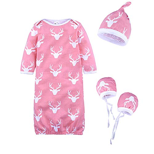Mrotrida Newborn Swaddle Blanket Cute Baby Onesies Long Sleeves Deer Print Sleepwear Gown with Baby Hat Gloves for 4-9 Months Girls Baby Deer Long Sleeve Onesie
