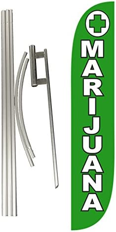 LookOurWay Marijuana Feather Flag Complete Set with Poles /& Ground Spike