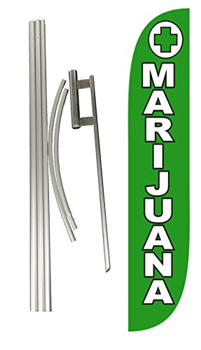 LookOurWay Marijuana Feather Flag Complete Set with Poles & Ground Spike by LookOurWay