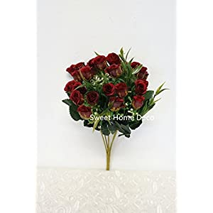 Sweet Home Deco 11'' Mini Rose Bush Silk Artificial Flowers w/Shinning Petals (Set of 3), No Pot Included; (Red) 90