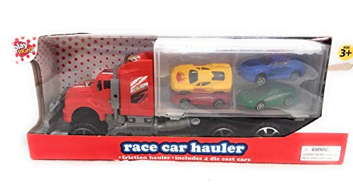 (Play Right Friction Toy Race Car Hauler Truck Semi 4 Die Cast Cars)