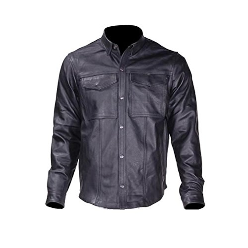 Ultimate Leather Apparel Mens Split Leather Motorcycle Shirt With Concealed Carry Pockets - Leather Shirt
