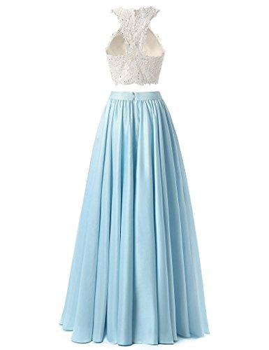 Dresses Two Prom DKBridal Long Gown Piece Women's Top Evening Aqua Lace wI1wxBq5t