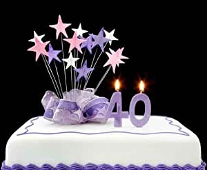 """40th Cake - 36""""W x 30""""H - Peel and Stick Wall Decal by Wallmonkeys"""
