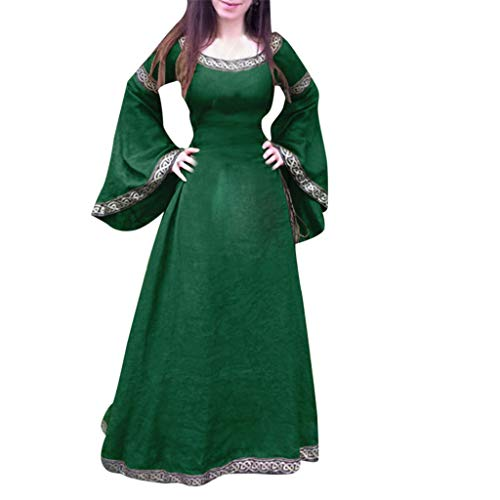 Women Medieval Maxi Dresses Vintage Renaissance Princess Costume Flared Long Sleeve Cosplay Clothes Vintage Gown (XXXXL, Green)