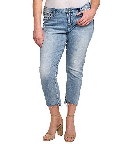 Silver Jeans Womens Plus Size High-Rise Loose Boyfriend Jeans