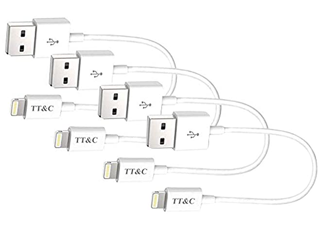 tt&c short compatible with iphone charger cable [ 8 inch white 4 pack ]  syncing and