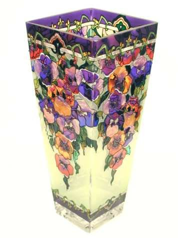 Amia 10-Inch Tall Hand-Painted Glass Vase Featuring Pansy Flowers ()