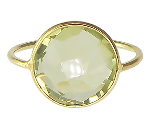 Lemon Quartz 18K Gold Plated Sterling Silver Wholesale Gemstone Fashion Jewelry Round Cut Ring (8) 18k Lemon