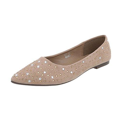 Design Flats Ballet 127 at Heel Block Women's Flats Ital Classic 22 Beige Ballet Cqxz5R1wW4