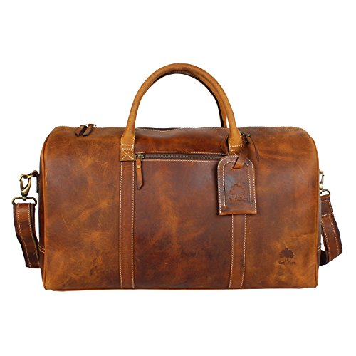 Leather Travel Duffle Bag Overnight Weekend Luggage Carry on Underseat Airplane