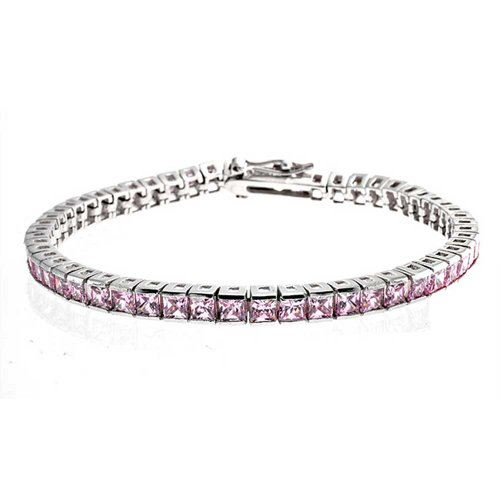 Pink Princess Cut Channel Setting Tennis Bracelet For Women Square Cubic Zirconia Rhodium Sterling Silver 7 Inch