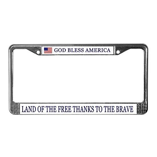 CafePress God Bless America Chrome License Plate Frame, License Tag Holder