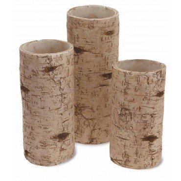 Boston International Birch Pillar Candle Holders, Set of 3