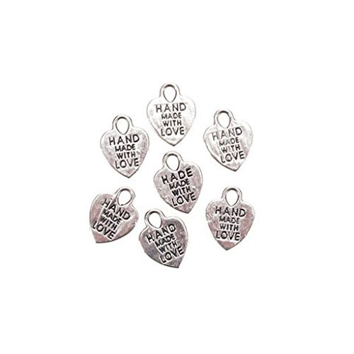 70 Hand Made with Love Favor Charms Wedding Christmas Silver