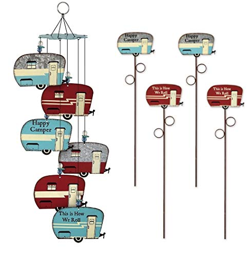 FAKKOS Design RV Decor Happy Campers Retro Trailer Wind Chimes with Set of 2 Matching Decorative Metal Garden Stakes