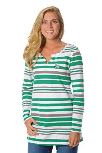 ncaa-marshall-thundering-herd-womens-striped-tunic-fleece-top-medium-kelly-green-black-white