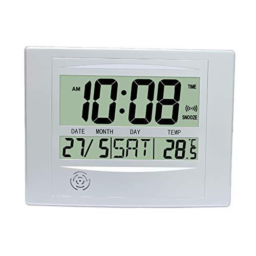 GJH Reloj Despertador LCD, Reloj De Pared Digital Simple Reloj De Escritorio con Alarma Posponer