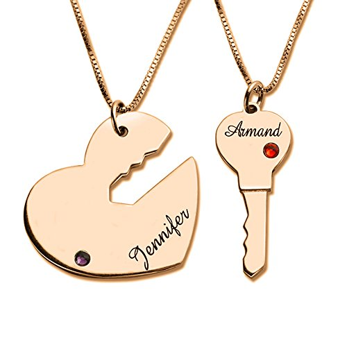 Couple Name Necklace Key to My Heart Rose
