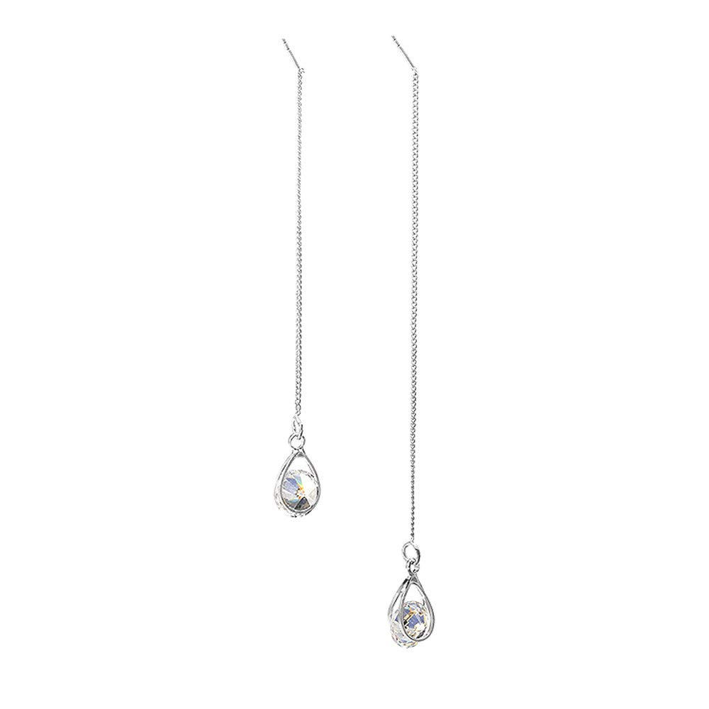 Booboda 1 Pairs Lager Jewelry Zircon Crystal Earrings Silver Drop Shapes Long Pendant (Silver)