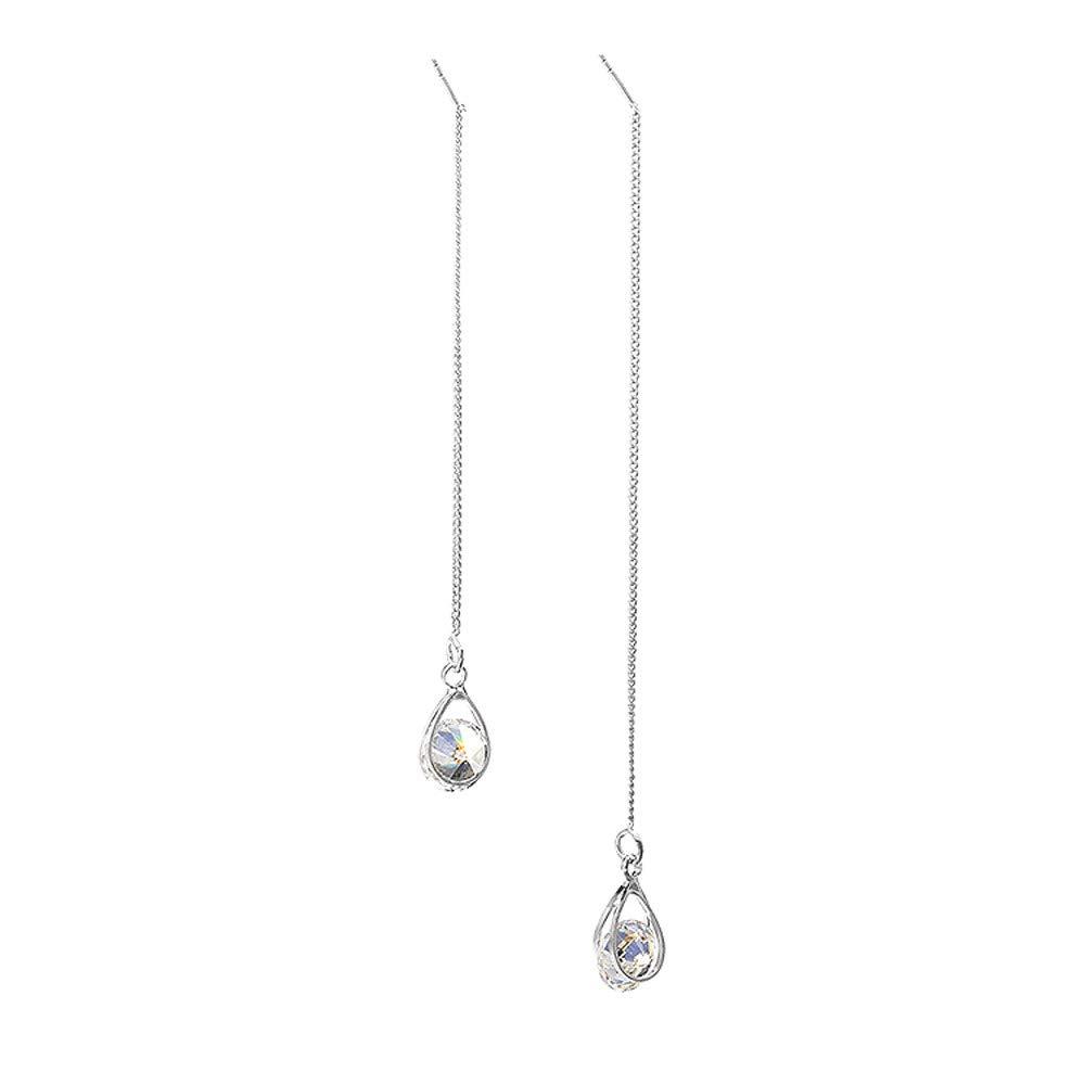 ✔ Hypothesis_X ☎ Silver Water Drop Earrings,1 Pair Zircon Crystal Eardrop Water Drop Earrings Tassel Jewelry for Women