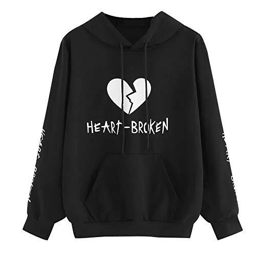 - DEATU Sale Teen Sweatshirt Tops I Speak Fluent Sarcasm Printed Ladies Casual Hoodie Heart Broken Long Sleeve Pullovers(B-Black,Large)