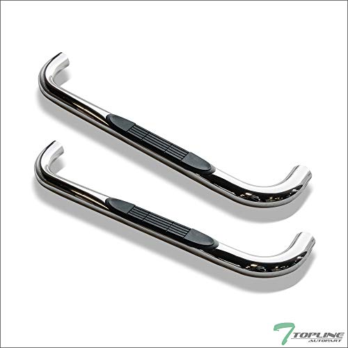 "Topline Autopart 3"" Polished Stainless Steel Side Step Nerf Bars Rail Running Boards For 88-00 Chevy/GMC C10 C/K Pickup Regular (Standard) Cab / 92-94 Blazer / 95-99 Tahoe / 92-97 Yukon 2 Door"